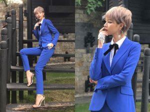 Phí Phương Anh diện bộ suits xanh nany trang nhã, đẹp mắt làm thổn thức fan hâm mộ
